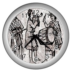 Man Ethic African People Collage Wall Clocks (silver)