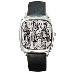 Man Ethic African People Collage Square Metal Watch