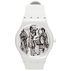 Man Ethic African People Collage Round Plastic Sport Watch (m)