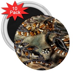 Texture Textile Beads Beading 3  Magnets (10 Pack)