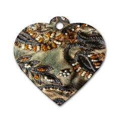 Texture Textile Beads Beading Dog Tag Heart (one Side)