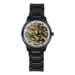 Texture Textile Beads Beading Stainless Steel Round Watch
