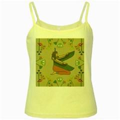 Egyptian Woman Wings Design Yellow Spaghetti Tank