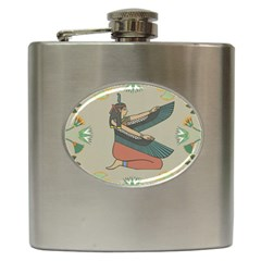 Egyptian Woman Wings Design Hip Flask (6 Oz)