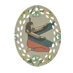 Egyptian Woman Wings Design Ornament (oval Filigree)