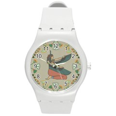 Egyptian Woman Wings Design Round Plastic Sport Watch (m)
