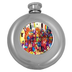 Guatemala Art Painting Naive Round Hip Flask (5 Oz)