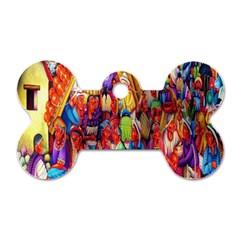 Guatemala Art Painting Naive Dog Tag Bone (two Sides)