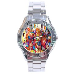 Guatemala Art Painting Naive Stainless Steel Analogue Watch