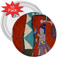 Mexico Puebla Mural Ethnic Aztec 3  Buttons (10 Pack)