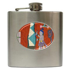 Mexico Puebla Mural Ethnic Aztec Hip Flask (6 Oz)