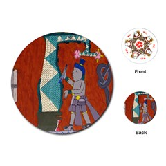 Mexico Puebla Mural Ethnic Aztec Playing Cards (round)