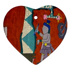 Mexico Puebla Mural Ethnic Aztec Heart Ornament (two Sides)