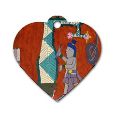 Mexico Puebla Mural Ethnic Aztec Dog Tag Heart (two Sides)