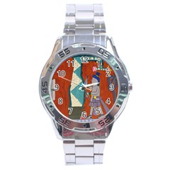 Mexico Puebla Mural Ethnic Aztec Stainless Steel Analogue Watch