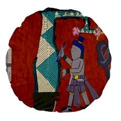 Mexico Puebla Mural Ethnic Aztec Large 18  Premium Round Cushions