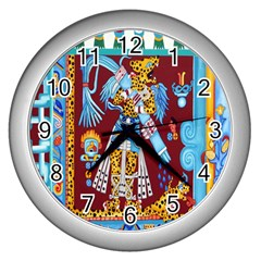 Mexico Puebla Mural Ethnic Aztec Wall Clocks (silver)