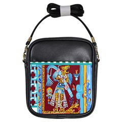 Mexico Puebla Mural Ethnic Aztec Girls Sling Bags