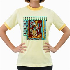 Mexico Puebla Mural Ethnic Aztec Women s Fitted Ringer T Shirts