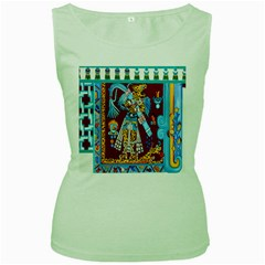 Mexico Puebla Mural Ethnic Aztec Women s Green Tank Top