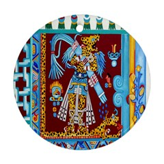 Mexico Puebla Mural Ethnic Aztec Round Ornament (two Sides)