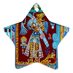 Mexico Puebla Mural Ethnic Aztec Star Ornament (two Sides)