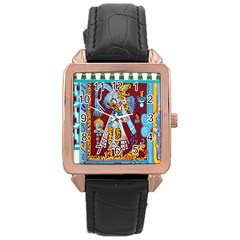 Mexico Puebla Mural Ethnic Aztec Rose Gold Leather Watch