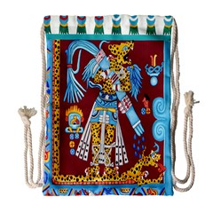 Mexico Puebla Mural Ethnic Aztec Drawstring Bag (large)
