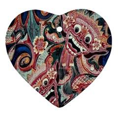 Indonesia Bali Batik Fabric Ornament (heart)
