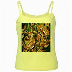 Indonesia Bali Batik Fabric Yellow Spaghetti Tank