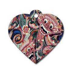 Indonesia Bali Batik Fabric Dog Tag Heart (two Sides)
