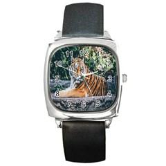 Animal Big Cat Safari Tiger Square Metal Watch
