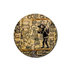 Mystery Pattern Pyramid Peru Aztec Font Art Drawing Illustration Design Text Mexico History Indian Rubber Coaster (round)