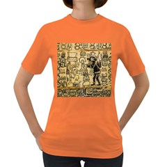 Mystery Pattern Pyramid Peru Aztec Font Art Drawing Illustration Design Text Mexico History Indian Women s Dark T Shirt