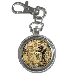 Mystery Pattern Pyramid Peru Aztec Font Art Drawing Illustration Design Text Mexico History Indian Key Chain Watches