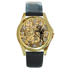 Mystery Pattern Pyramid Peru Aztec Font Art Drawing Illustration Design Text Mexico History Indian Round Gold Metal Watch