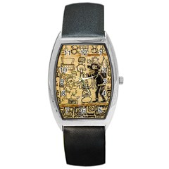 Mystery Pattern Pyramid Peru Aztec Font Art Drawing Illustration Design Text Mexico History Indian Barrel Style Metal Watch