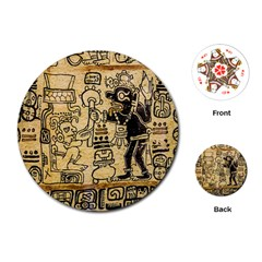 Mystery Pattern Pyramid Peru Aztec Font Art Drawing Illustration Design Text Mexico History Indian Playing Cards (round)
