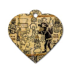 Mystery Pattern Pyramid Peru Aztec Font Art Drawing Illustration Design Text Mexico History Indian Dog Tag Heart (two Sides)