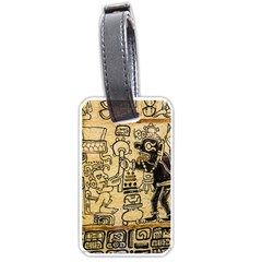 Mystery Pattern Pyramid Peru Aztec Font Art Drawing Illustration Design Text Mexico History Indian Luggage Tags (one Side)
