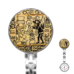 Mystery Pattern Pyramid Peru Aztec Font Art Drawing Illustration Design Text Mexico History Indian Stainless Steel Nurses Watch