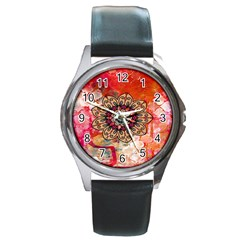 Mandala Art Design Pattern Ethnic Round Metal Watch