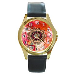 Mandala Art Design Pattern Ethnic Round Gold Metal Watch
