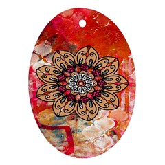 Mandala Art Design Pattern Ethnic Oval Ornament (two Sides)