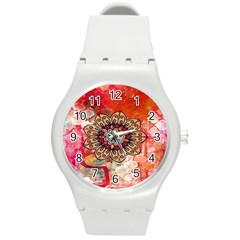 Mandala Art Design Pattern Ethnic Round Plastic Sport Watch (m)