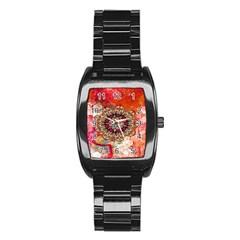 Mandala Art Design Pattern Ethnic Stainless Steel Barrel Watch