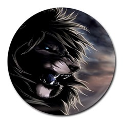 Angry Lion Digital Art Hd Round Mousepads
