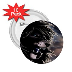 Angry Lion Digital Art Hd 2 25  Buttons (10 Pack)