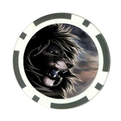 Angry Lion Digital Art Hd Poker Chip Card Guard (10 Pack)