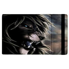 Angry Lion Digital Art Hd Apple Ipad 2 Flip Case